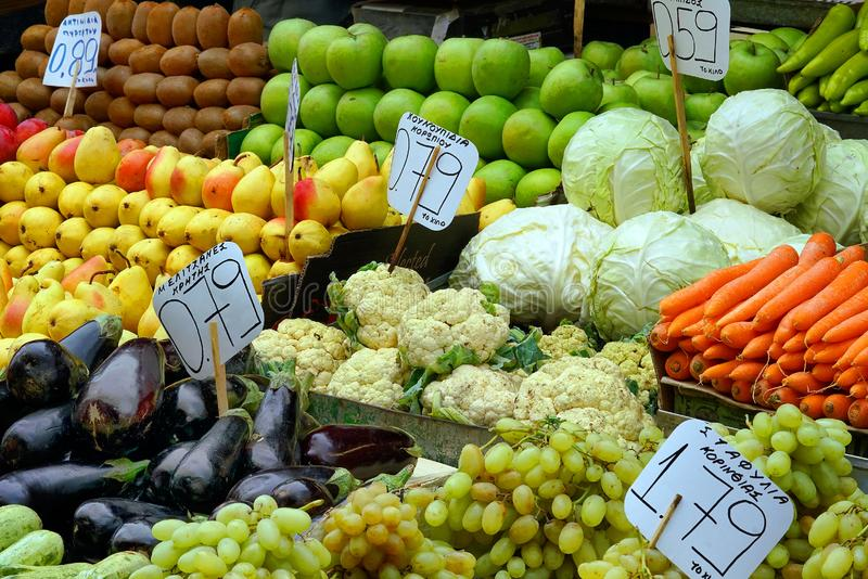 fruits and vegetables at the central market of Athens royalty free stock photos