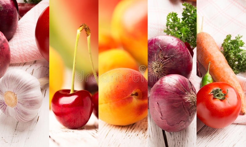 Fruits and vegetables. Collage from photos of fruits and vegetables royalty free stock photos