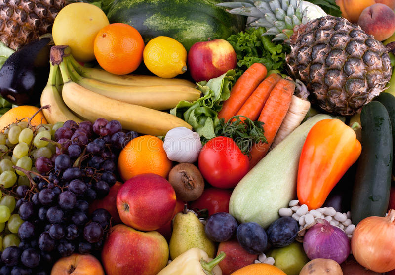 Fruits and vegetables. Collection of fruits and vegetables stock images