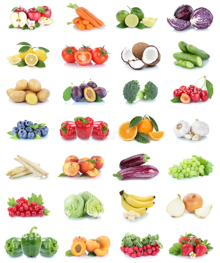 Fruits and vegetables collection apples oranges bell pepper strawberries bananas vegetable food isolated. On a white background stock images