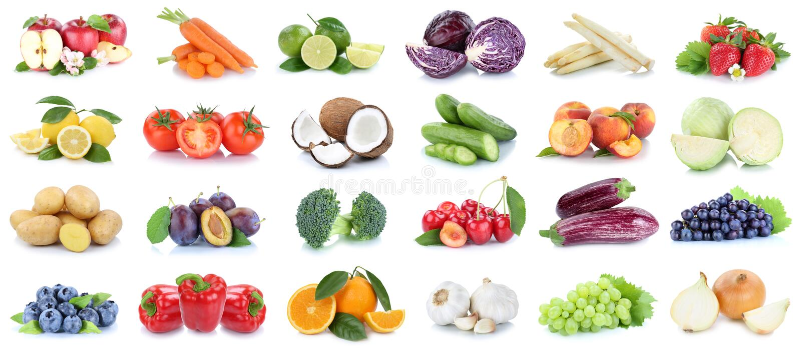 Fruits and vegetables collection apples oranges grapes vegetable royalty free stock image