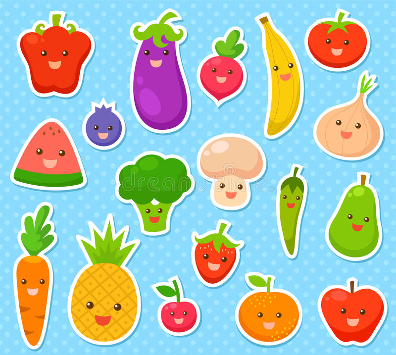 Fruits and vegetables. Collection of cartoon fruit and vegetables