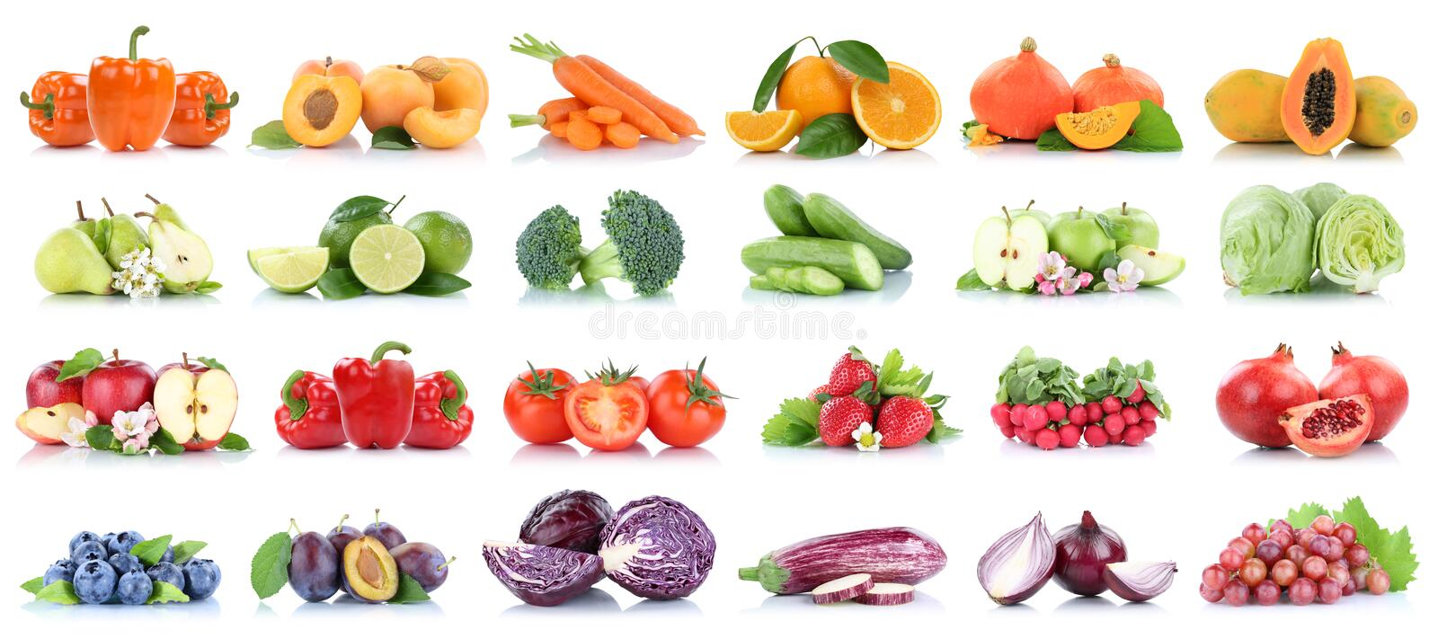 Fruits and vegetables collection isolated apple tomatoes orange pears lettuce colors fresh fruit stock images