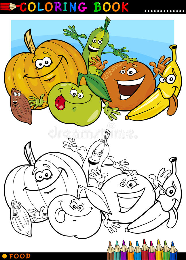 Fruits and vegetables for coloring. Coloring Book or Page Cartoon Illustration of Funny Food Characters Fruits and Vegetables for Children Education stock illustration