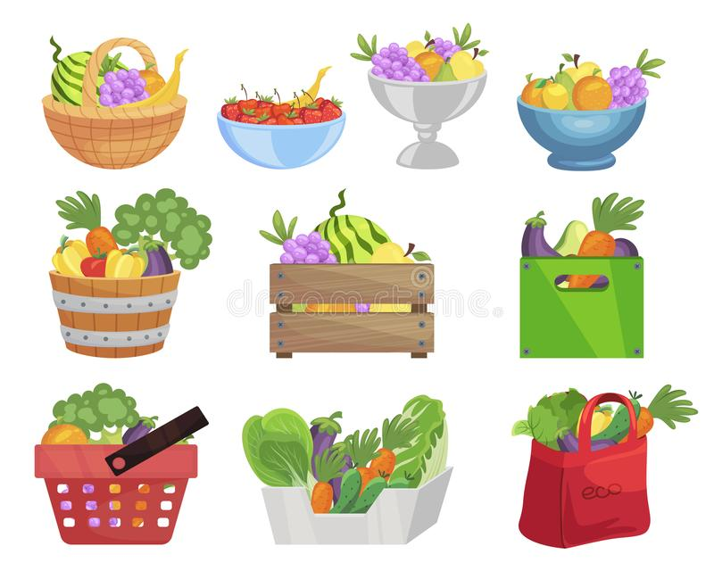 Fruits and vegetables in containers flat vector illustrations set stock illustration