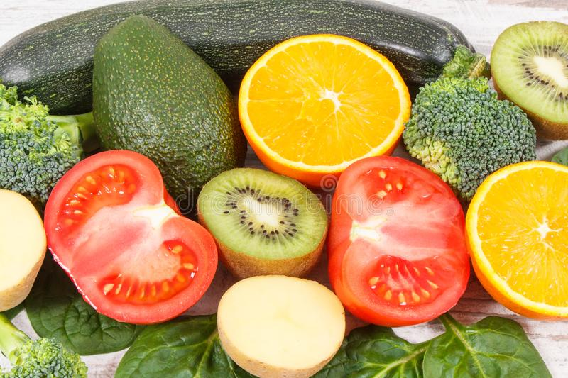 Fruits and vegetables containing vitamin K, potassium, natural minerals and dietary fiber. Fresh fruits and vegetables containing vitamin K, potassium, dietary stock photos