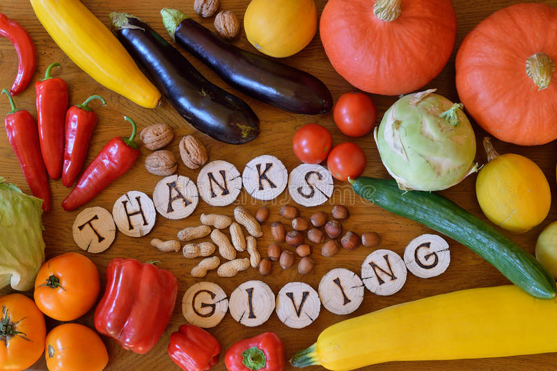 Fruits and vegetables decorated for thanksgiving royalty free stock photos
