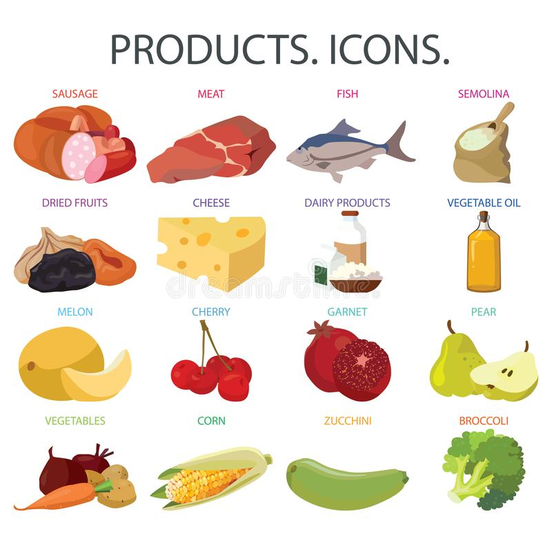 Fruits, vegetables, fats, meat, cereals, dairy products. Food. Fruits, vegetables, fats, meat, cereals, dairy products. For your convenience, each significant vector illustration