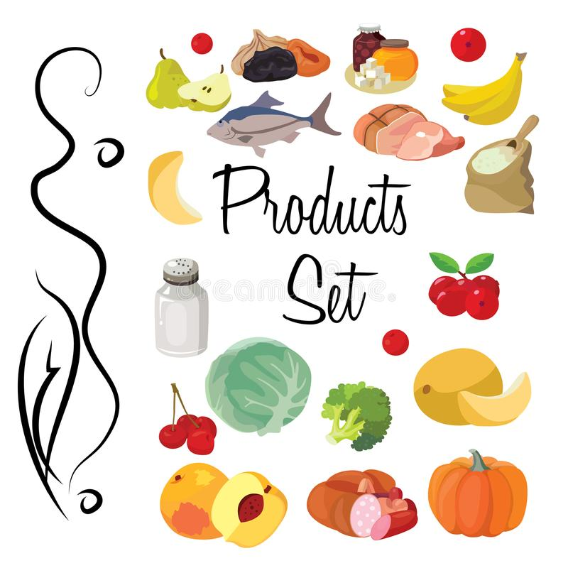 Fruits, vegetables, fats, meat, cereals, dairy products. Food. Fruits, vegetables, fats, meat, cereals, dairy products. For your convenience, each significant stock illustration