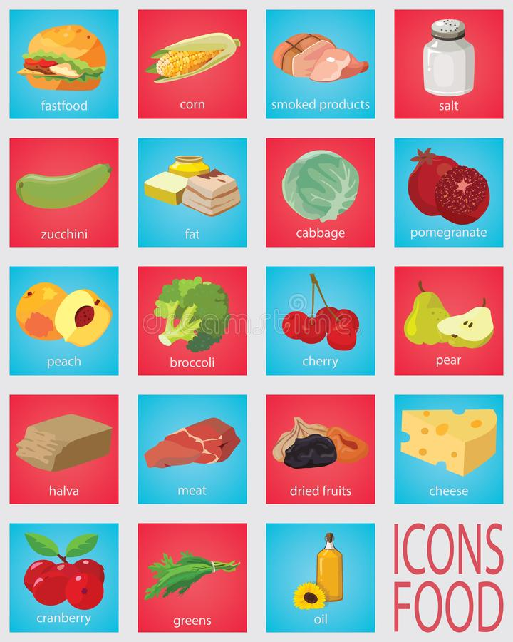 Fruits, vegetables, fats, meat, cereals, dairy products vector illustration