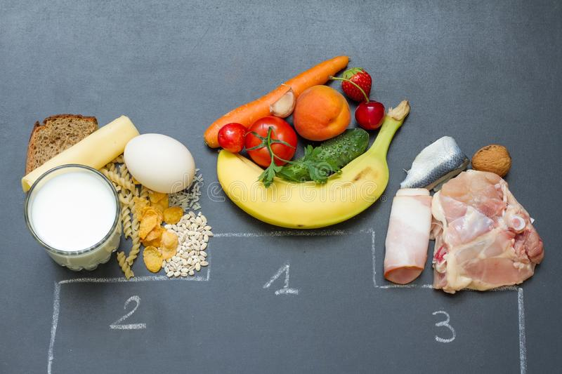 Fruits and vegetables  first place abstract diet concept wit diary products and meat. Concept royalty free stock image