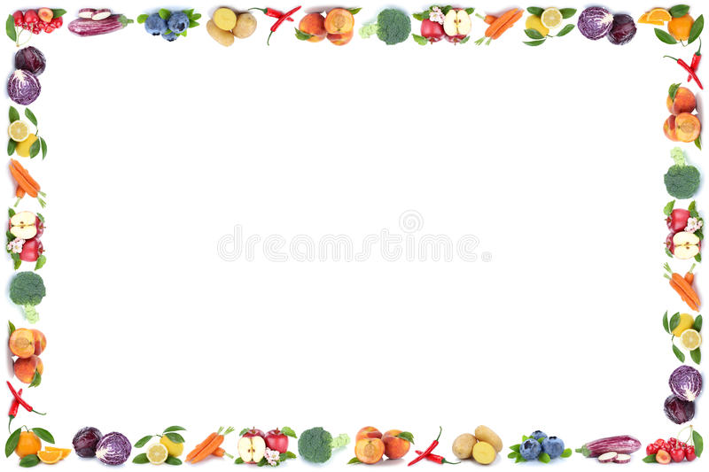 Fruits and vegetables frame copyspace isolated apple orange fresh fruit royalty free stock images