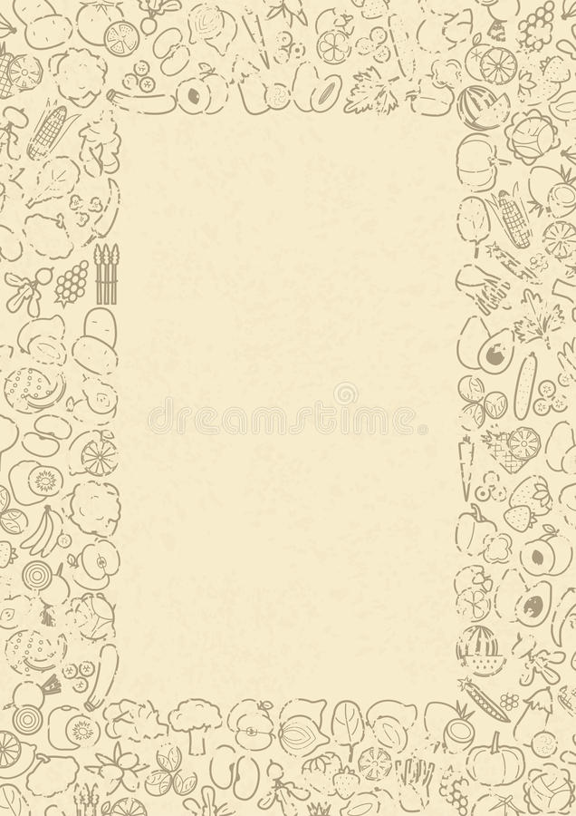 Fruits And Vegetables Frame For Menu Or Recipe Stock Vector ...