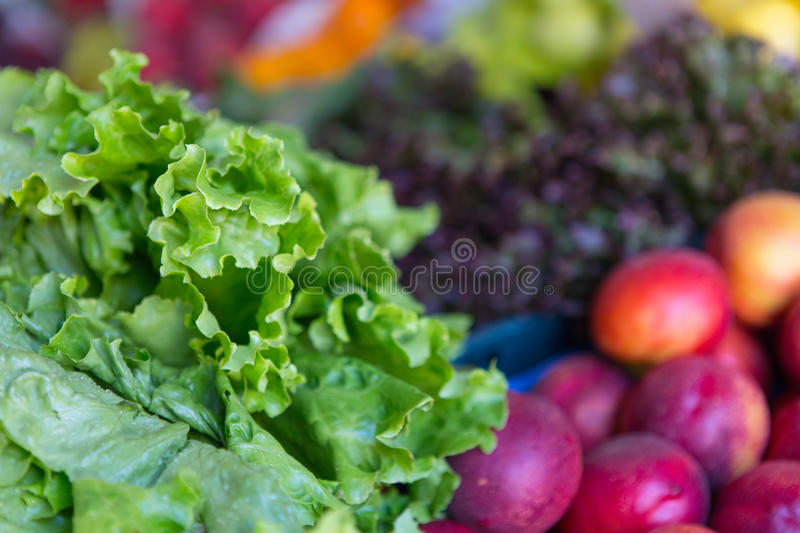 Fruits and vegetables. Fresh fruits and vegetables at farmers market stock photo