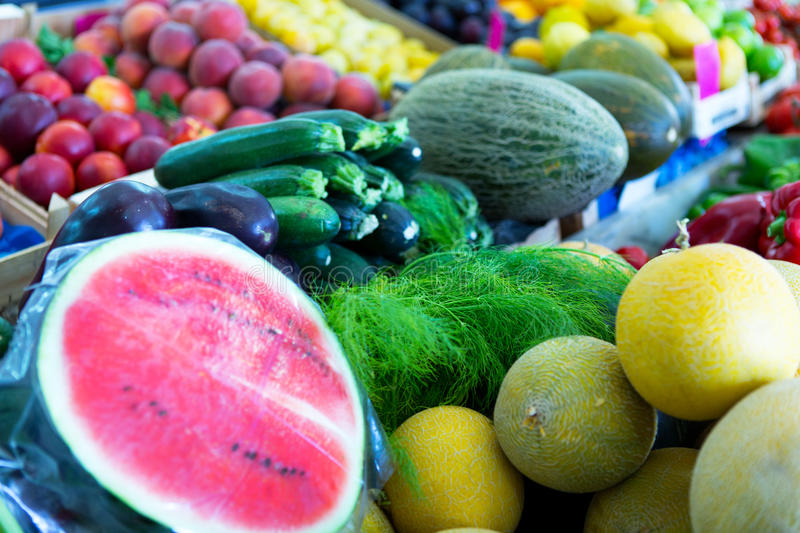 Fruits and vegetables. Fresh fruits and vegetables at farmers market royalty free stock images
