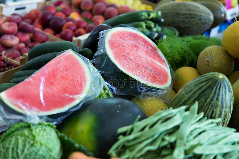 Fruits and vegetables. Fresh fruits and vegetables at farmers market royalty free stock photo