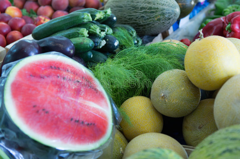 Fruits and vegetables. Fresh fruits and vegetables at farmers market stock photography