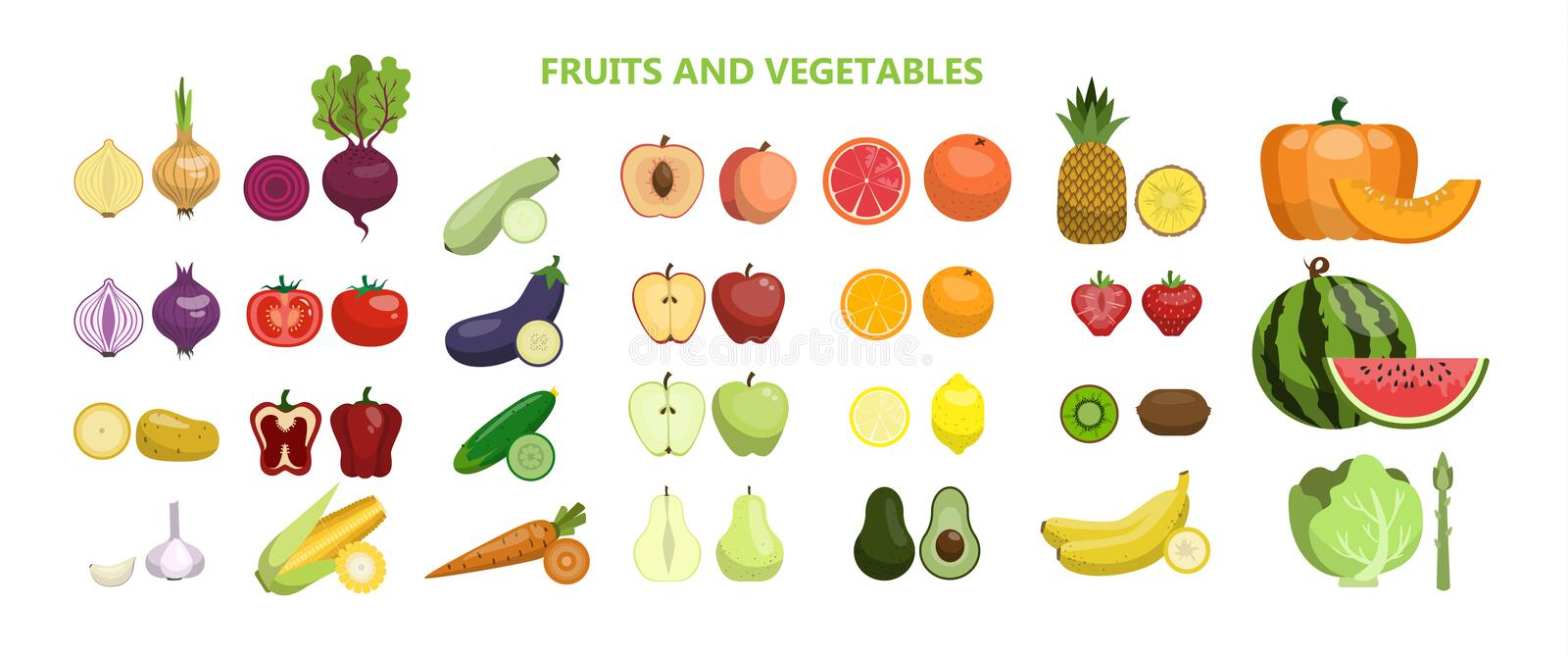 Fruits and vegetables. Fruits and vegetables set on white background royalty free illustration