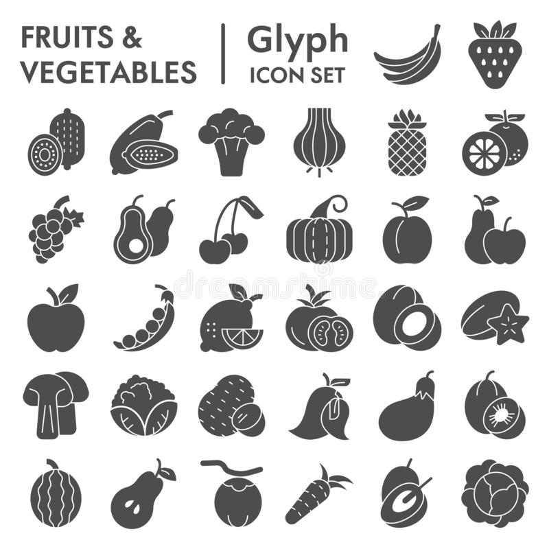 Fruits and vegetables glyph icon set, farm food symbols collection, vector sketches, logo illustrations, vitamin signs vector illustration