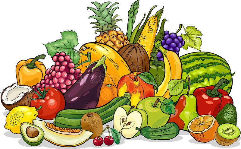 Fruits and vegetables group cartoon illustration royalty free illustration