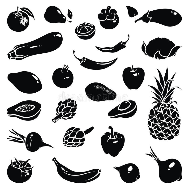 Fruits Vegetables Icons. Icons of fruits and vegetables royalty free illustration