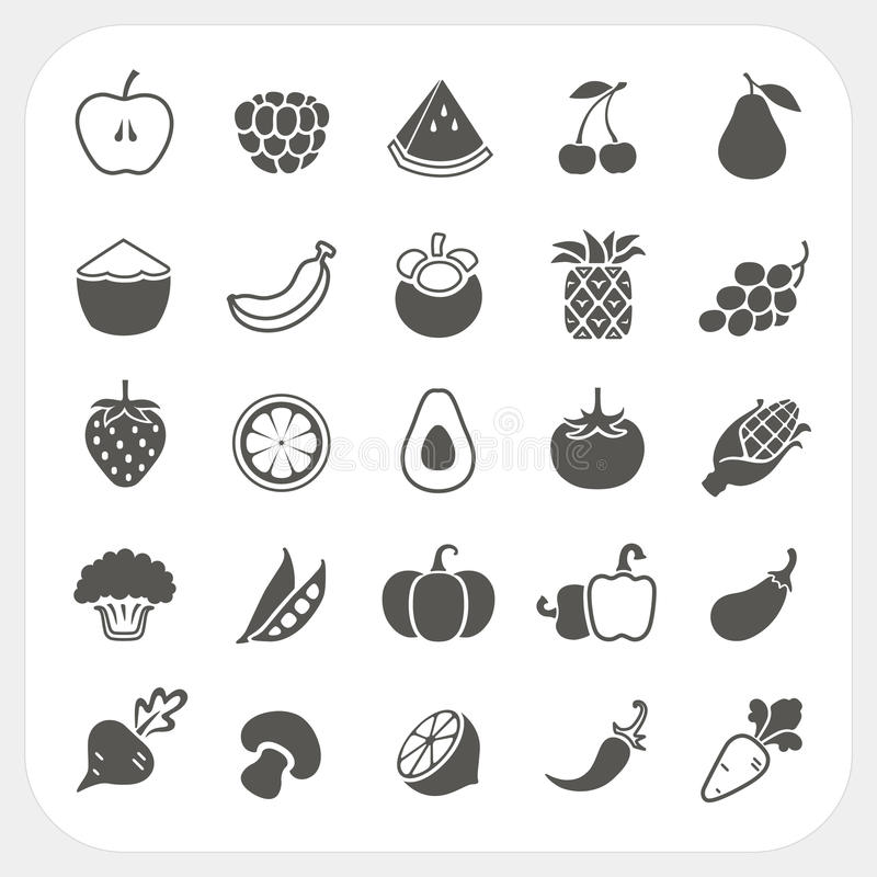 Fruits and Vegetables Icons with frame background stock illustration