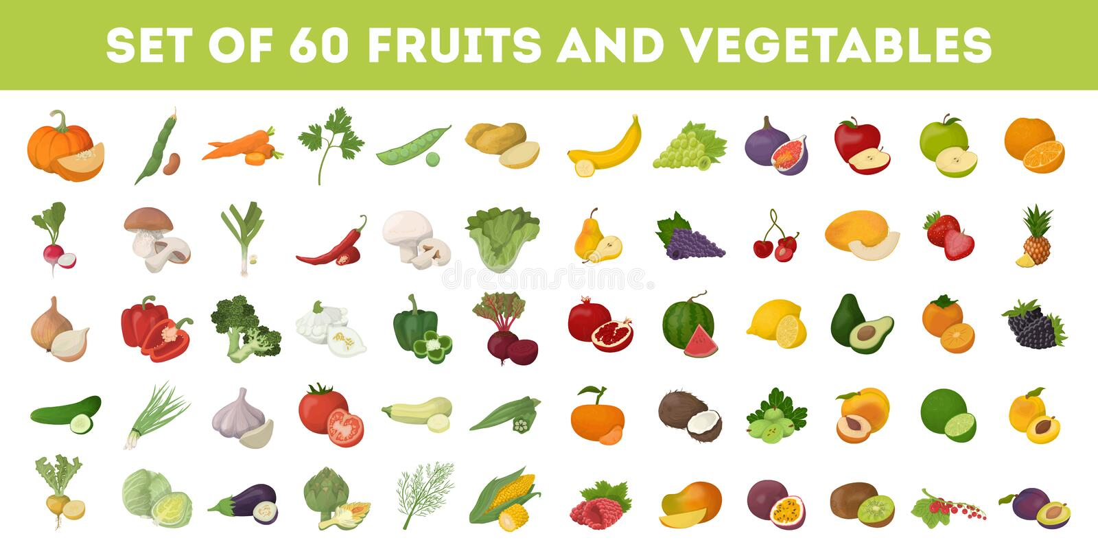 Fruits and vegetables. Fruits and vegetables icons set. Apples and bananas, tomatoes and cucumbers and more stock illustration