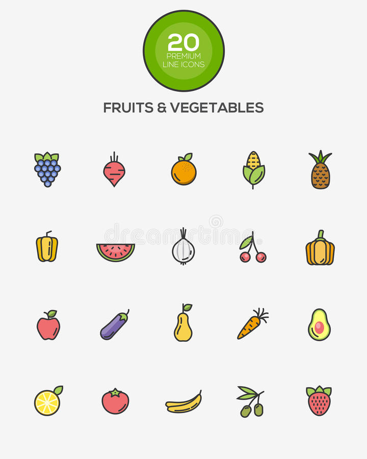 Fruits and Vegetables icons. Set of Flat Line Color Fruits and Vegetables icons. Vector stock illustration