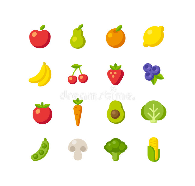 Fruits and vegetables icons royalty free illustration