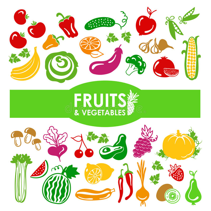 Fruits and vegetables icons. On a white background stock illustration