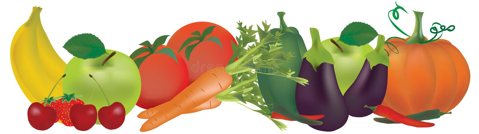Fruits and vegetables. Illustration of various Fruits and vegetables, Banana, apple, pepper, tomatoes, carrot, strawberry, aubergine and pumpkin vector illustration