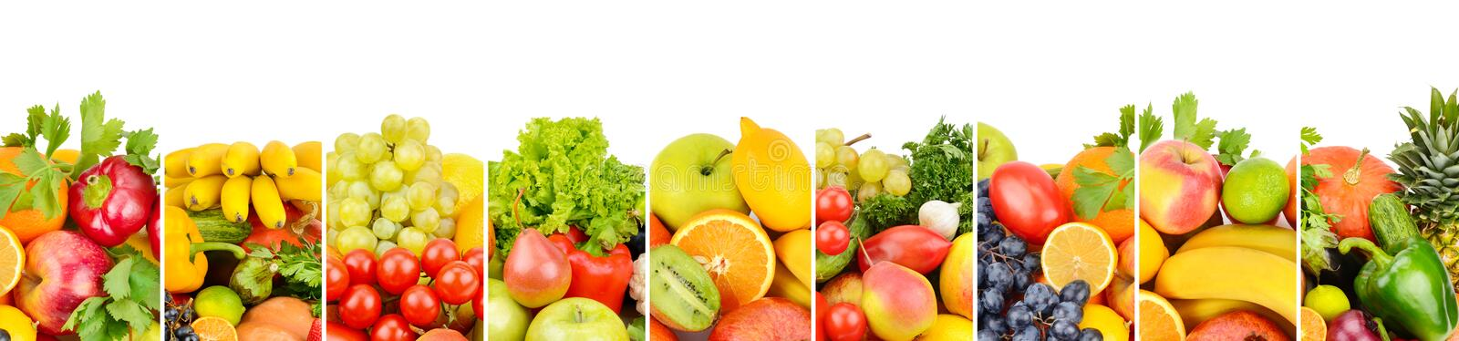 Fruits and vegetables isolated on white background. Panoramic co. Collection fresh fruits and vegetables isolated on white background. Panoramic collage. Wide royalty free illustration
