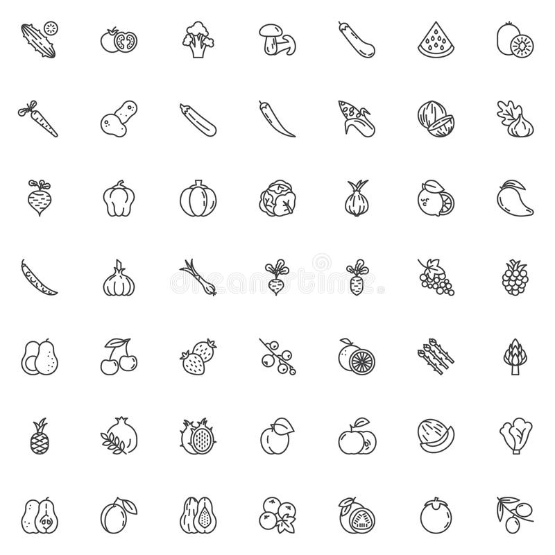 Fruits and vegetables line icons set. Linear style symbols collection, outline signs pack. vector graphics. Set includes icons as dragon fruit, Cucumber stock illustration