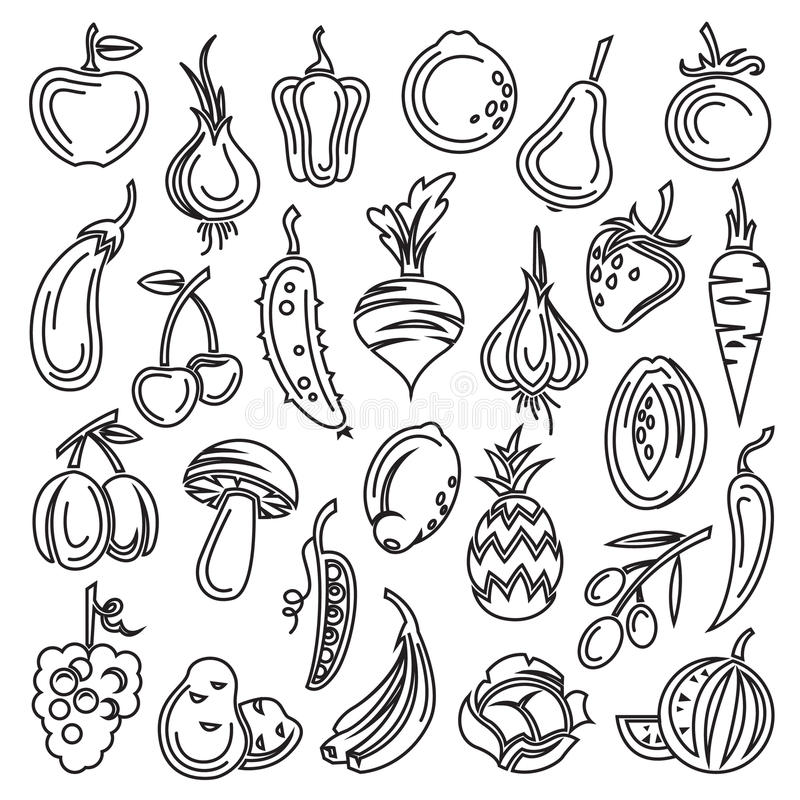 Fruits and vegetables. Monochrome set of fruits and vegetables vector illustration