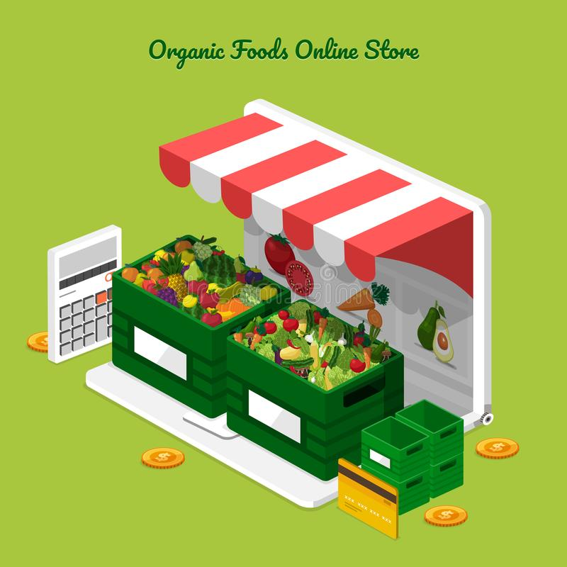 Fruits & Vegetables Online Store stock illustration