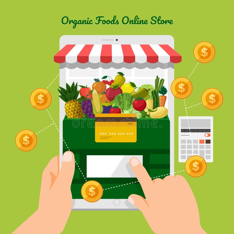 Fruits & Vegetables Online Store royalty free illustration