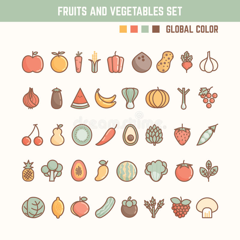 Fruits and vegetables outline icon set. For natural and healthy food royalty free illustration