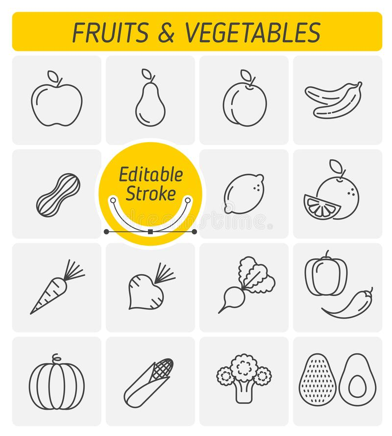 The fruits and vegetables outline vector icon set royalty free stock photos