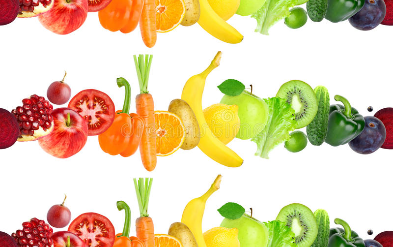Fruits and vegetables seamless pattern. Healthy food royalty free stock photos