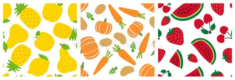 Fruits and vegetables seamless pattern set. Pineapple, apple, pear, lemon, pumpkin, carrot, potato, watermelon, strawberry, cherry stock illustration
