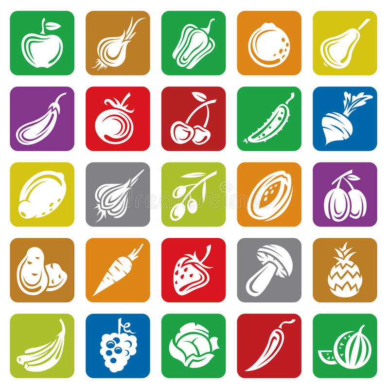 Fruits and vegetables set stock illustration