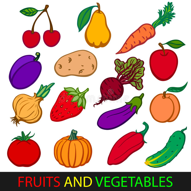Fruits and vegetables. Set flat vector images. royalty free illustration