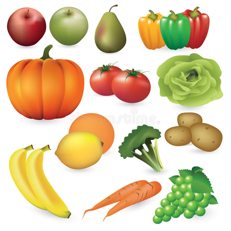 Fruits and vegetables. Set of fresh fruits and vegetables. Vector color illustration on white background royalty free illustration