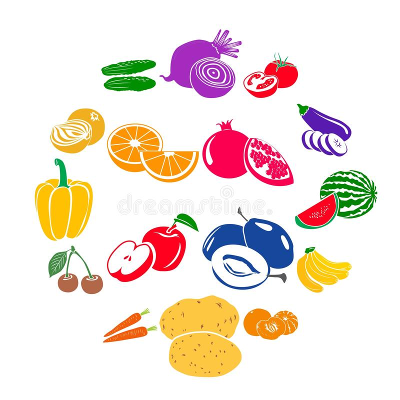 Fruits and vegetables set icons stock illustration