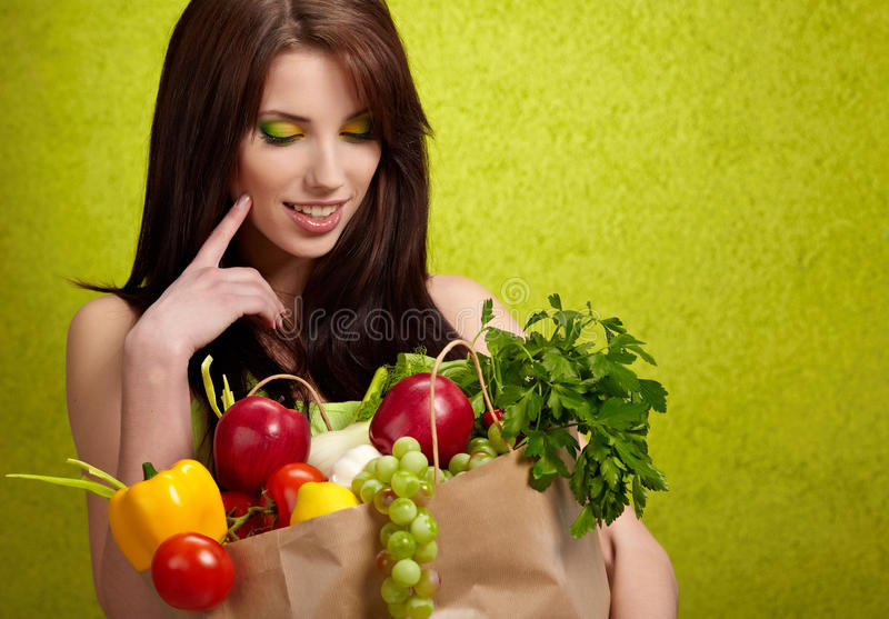 Fruits And Vegetables Shopping Royalty Free Stock Image