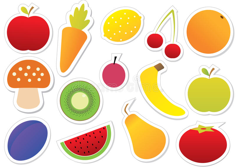 Download Fruits And Vegetables Sticker Stock Vector - Image: 21510539