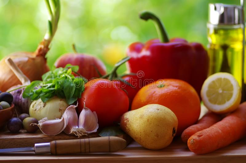 Fruits and vegetables on  table royalty free stock images