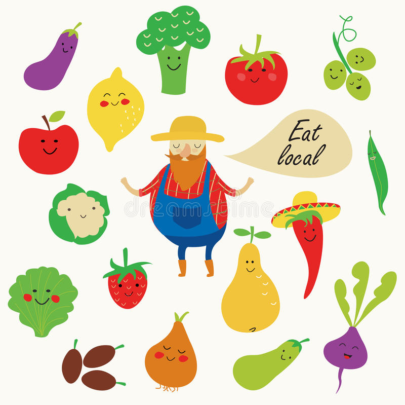 Fruits and vegetables. Vector illustration of farm fruits and vegetables with funny farmer in cartoon style. Eat local poster stock illustration