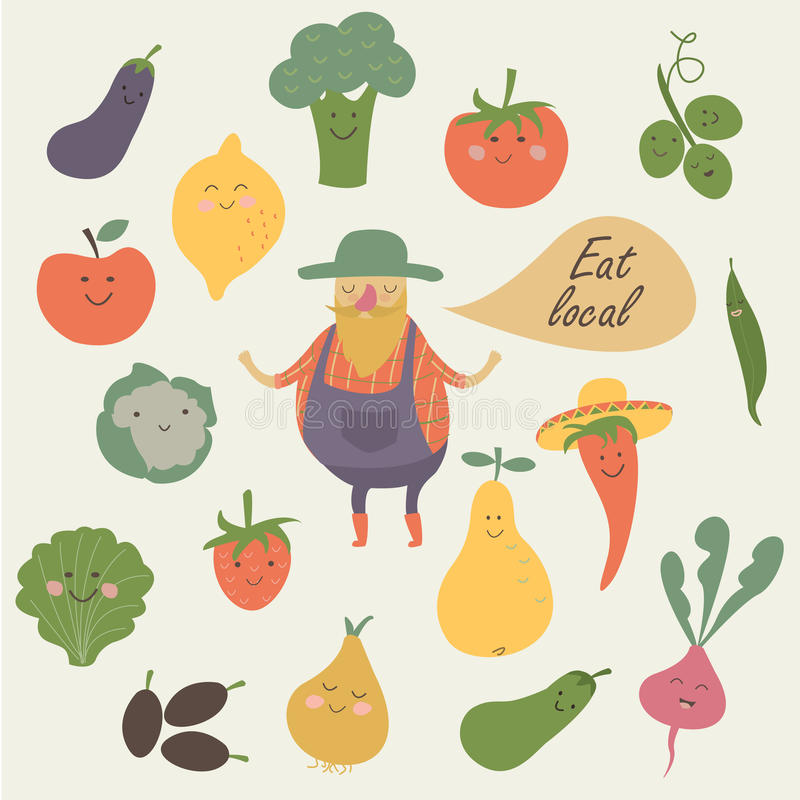 Fruits and vegetables. Vector illustration of farm fruits and vegetables with funny farmer in cartoon style. Eat local poster royalty free illustration