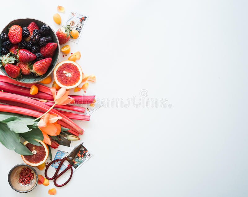 Fruits and vegetables on white royalty free stock images